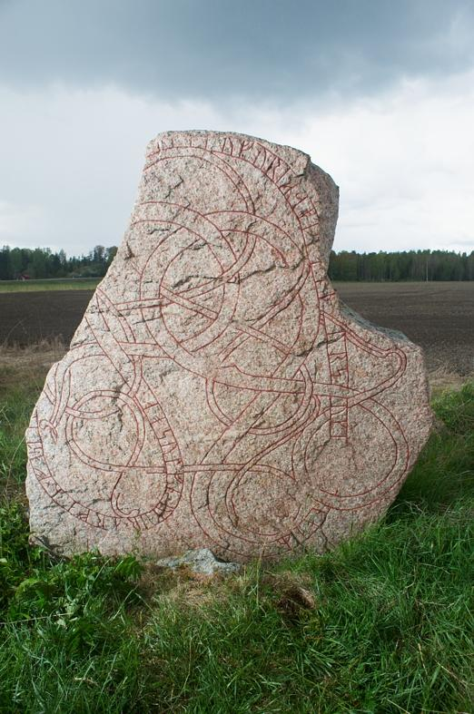 Runes written on runsten, röd granit. Date: V